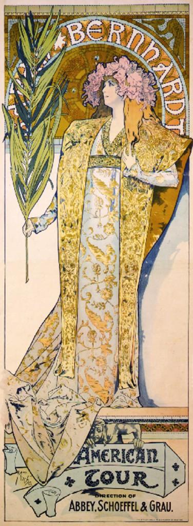 1896 poster for actress Sarah Bernhardt's American Tour, via wikimedia commons (CC)