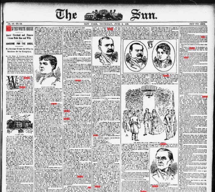 Front page of The Sun, June 3, 1886