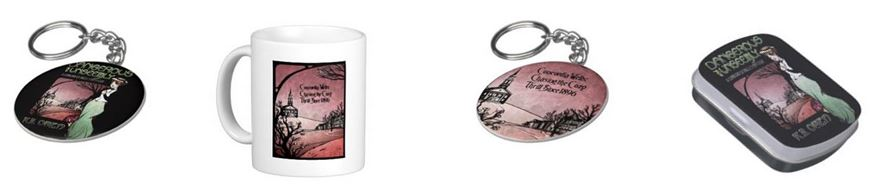 """Unseemly"" swag…choice of keychain styles, a mug, and a candy tin.  Lavender logo says: ""Concordia Wells: chasing the cozy thrill since 1896."""
