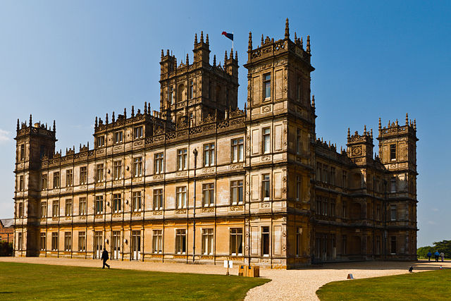 Highclere Castle, setting for Downton Abbey.  Photograph by Richard Munckton, via wikimedia commons.