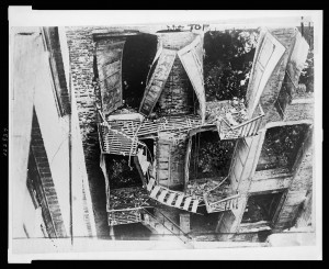 Triangle Factory's fire escape, after the fire, 1911.