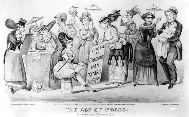 A satirical portrayal of what the world would be like if women got the vote. 1869 lithograph by Currier and Ives, NY, via wikimedia commons (CC).
