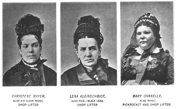 from 1886 Professional Criminals of America, by Thomas Byrnes. Don't you love the nicknames some of these gals have?