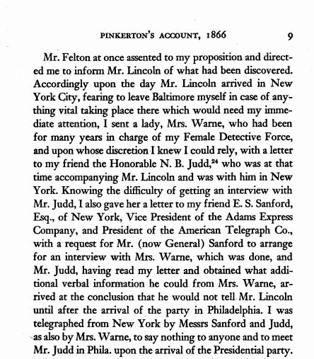 Excerpt from Pinkerton's report, published in Norma Cuthbert's 1949 book: Lincoln and the Baltimore Plot, 1861.