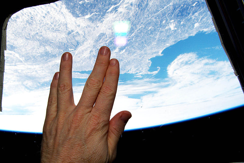 "Quoted from image description: ""International Space Station astronaut Terry Virts (@AstroTerry) tweeted this image of a Vulcan hand salute from orbit as a tribute to actor Leonard Nimoy, who died on Friday, Feb. 27, 2015. Nimoy played science officer Mr. Spock in the Star Trek series that served as an inspiration to generations of scientists, engineers and sci-fi fans around the world. Cape Cod and Boston, Massachusetts, Nimoy's home town, are visible through the station window."" Image via NASA.gov"