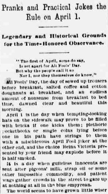 from The World (New York), April 1, 1892.