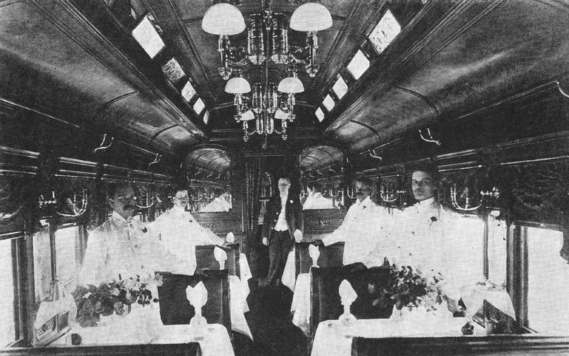 "The dining car ""Queen"" on the Royal Blue of the Baltimore and Ohio Railroad, as advertised in 1895. Wikimedia Commons."