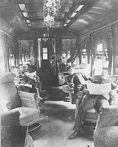 Lounge car, date not indicated (approx late 1890s). Chicago Historical Society.