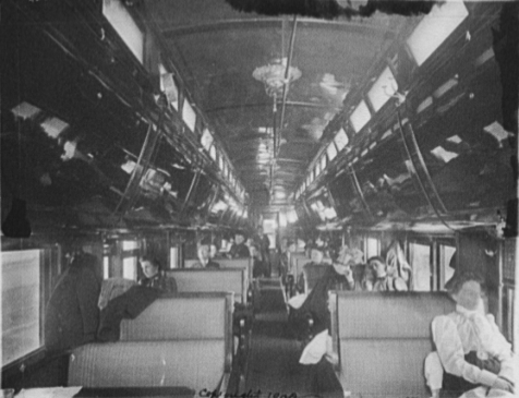 Pullman sleeper (daytime operation; bunks folded away), 1900. Library of Congress.