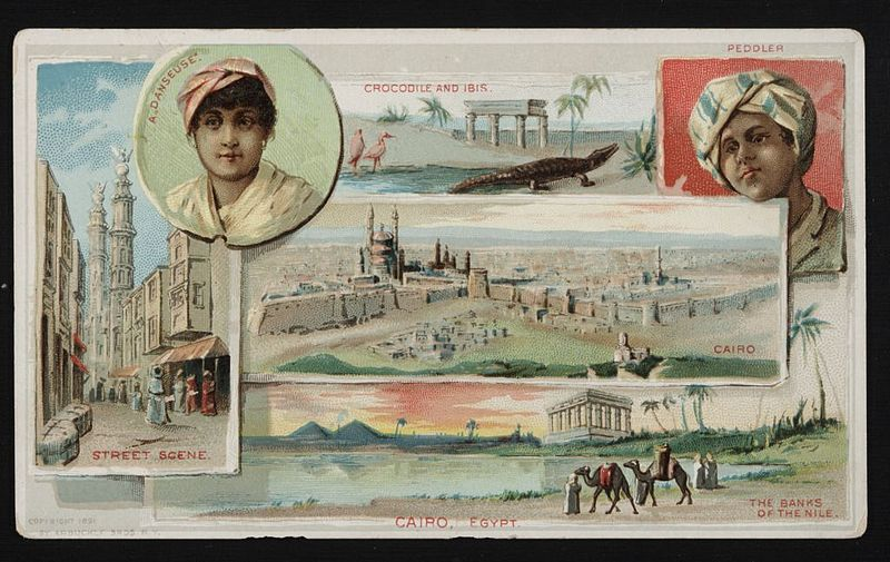 """Original trade card: """"Cairo, Egypt."""" (Arbuckle Bros.), 1891. From the collection of Paula Sanders, Rice University, via wikimedia commons."""