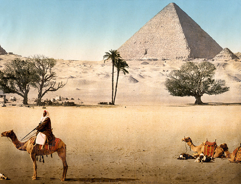 """""""Resting Bedouins and the Grand Pyramid, Cairo, Egypt."""" 1895. Detroit Publishing Co, via wikimedia commons."""