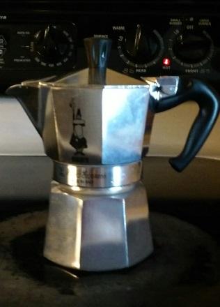 my little Bialetti, a stovetop 4 oz espresso maker. Cute, isn't it?