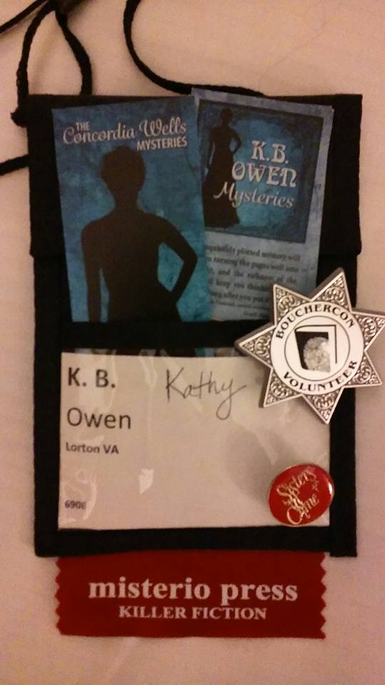 My convention badge, with my bookmarks front and center.