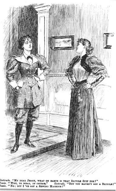 """""""The Bicycle Suit,"""" Punch Magazine, 1895."""