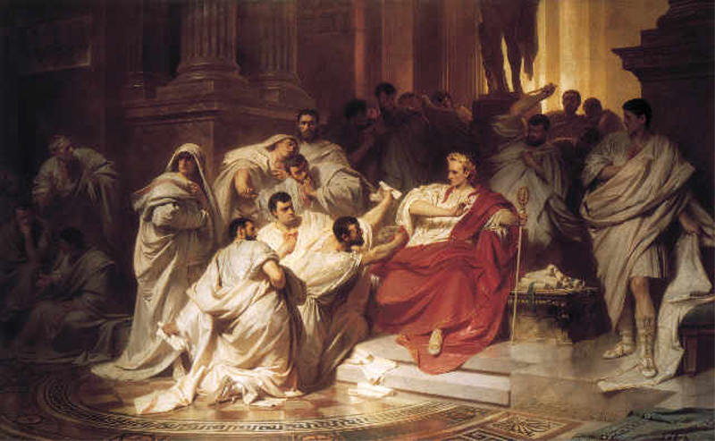 Death of Caesar, by Karl Theodor von Piloty, 1865. Image via wikimedia commons.