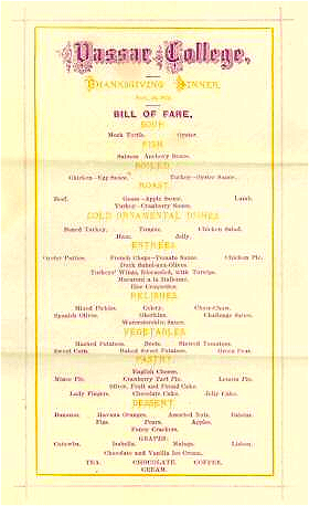 1874 Vassar College Thanksgiving Menu. Image via wikimedia commons.