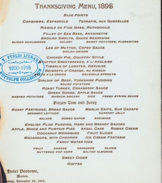 Hotel Vendome Thanksgiving Menu, 1895. Image via wikimedia commons.