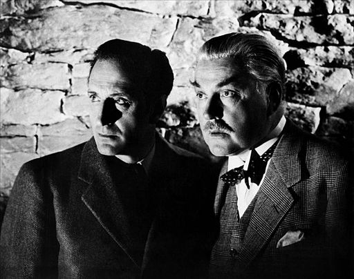 From a different adventure...Basil Rathbone (Holmes) and Nigel Bruce (Watson), Universal Pictures, 1943. Wikimedia Commons.