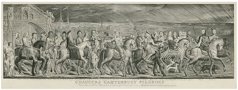Print from Blake's copperplate etching, Chaucer's Canterbury Pilgrims, 1810.